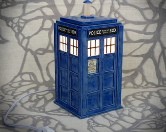 Ceramic Tardis Lamp - Sculptural Police Box Table Top Lantern