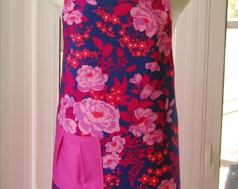 Rose Bouquet Reversible Apron - fabulous large cotton print apron with pleated pocket and extra long ties