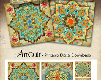 Printable MOROCCAN COASTERS Digital Collage Sheet oriental 3.8x3.8 inch size Images for paper craft decoupage Art Cult downloadable graphics