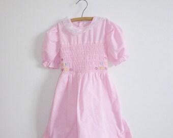 SALE // Vintage Pink Smocked Girls Dress