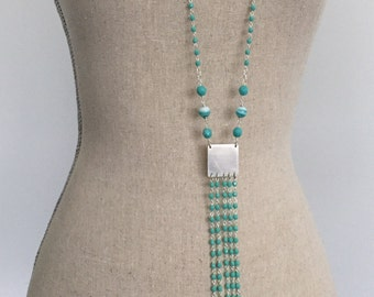 Aqua Tassel Fringe Sterling Silver Necklace