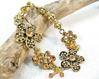 Gold and Amber Bracelet, Topaz and Amber, Gold Crystal Bracelet, Gold Flower Bracelet, Charm