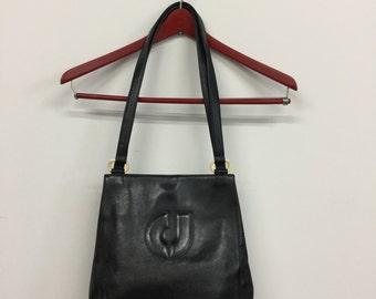 Vintage Charles Jourdan black leather purse bag logo