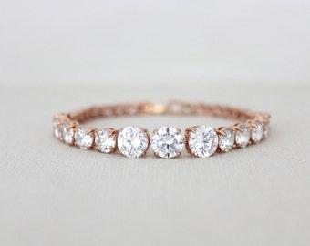Rose Gold bracelet, Crystal Bridal bracelet, Bridesmaid jewelry, Wedding jewelry, Swarovski crystal bracelet, Classic bracelet