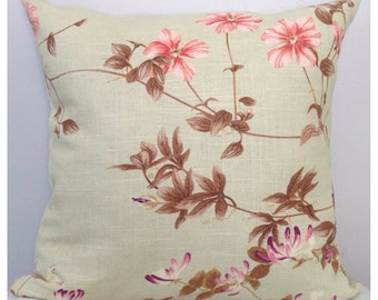mint green floral designer pillow cover coral fuchsia purple flowers multi color pillow soft green throw