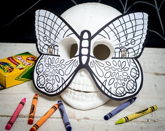 Halloween Printable butterfly coloring mask for kids butterfly color activity mask insect mask fun girl halloween craft DIY print at home
