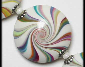 Watercolor... Handmade Polymer Clay Beads Bead Set Lentils Swirl Spiral Rainbow Pastel Multi-Colored White Silver Bead Caps Jewelry Supplies