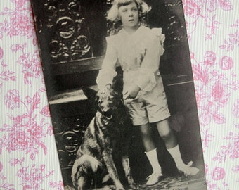 Antique royalty photo postcard, Antique prince photo postcard, Antique royalty photo, prince with Shepherd dog, Prince Leopold with dog