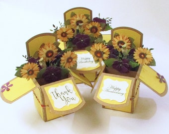 Flower Bouquet - Pop Up Card - Happy Birthday Card - Happy Anniversary - Gift Card Holder - Happy Mother's Day - Thank You - Sunflowers Bee