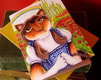 Dorothy, Wizard of Oz, Cat Art 5x7 Blank Greeting Card