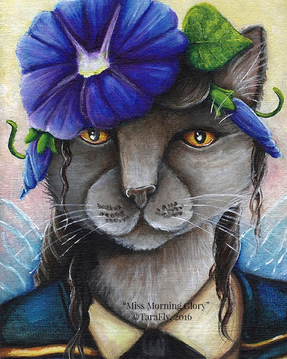 Morning Glory Cat Fairy, Russian Blue Cat Flower Fantasy Art 8x10 Reproduction Print
