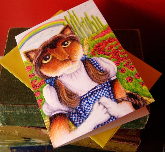 Dorothy, Wizard of Oz, Cat Art 5x7 Blank Greeting Card