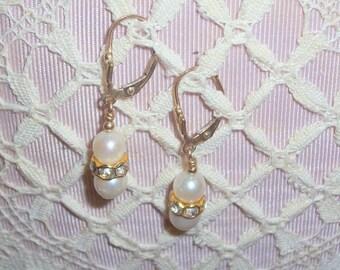 Handmade Freshwater Pearl Earrings with Rhinestone Rondells - Pierced