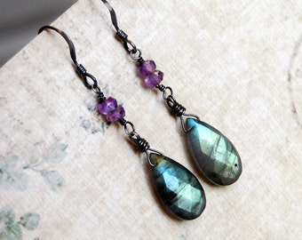 Labradorite Earrings, Amethyst Earrings on Oxidized Sterling Silver - Ivy by CircesHouse on Etsy