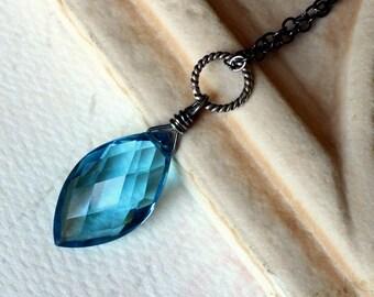 London Blue Quartz Necklace, Oxidized Sterling Silver - Atlantis by CircesHouse on Etsy
