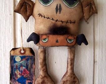"PriMiTiVe Halloween Grungy Bat Art DOll & Little Jackolantern Bat ""Midnight Bite"" OFG HAFAIR FAAP"