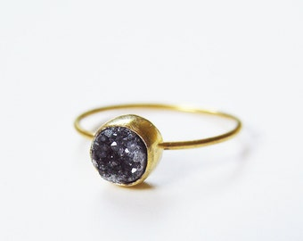SALE Black Druzy Gold Ring OOAK