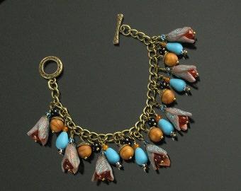 Unique Boho Bracelet, Fall Charm Bracelet, Polymer Clay Bracelet, Rustic Bracelet, Colorful Bracelet, Brass Art Jewelry, Unique Gift, Women