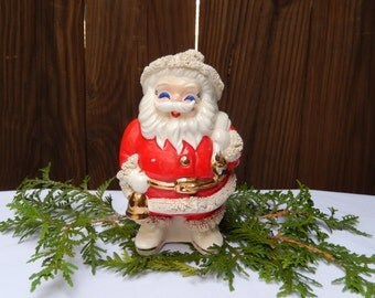 vintage Santa figurine, Santa bank, ceramic Santa with spaghetti trim, 1950's, kitsch, 1950s Christmas decor