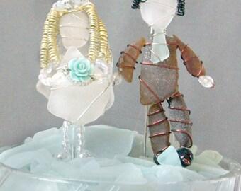 Sea Glass Bride and Groom Suncatcher Ornaments or Sea Glass Bride and Groom Cake Toppers