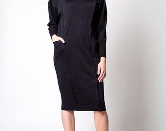 The Vintage Knit Turtleneck Structured Black Dress