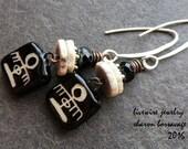 Tribal Primitive Black and White Ceramic Earrings, Primitive Pattern Dangle Charms Sterling Silver Organic Rustic Earrings