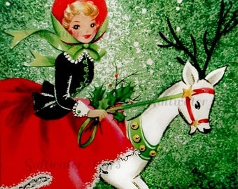 Christmas  Girl White Deer Card Image Digital Download vintage holiday xmas christmas card  1950s red dress reindeer holly forest snow