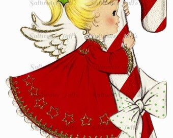 Christmas Angel With Candy Cane Image Digital Download vintage holiday xmas christmas card 1950s red striped dress halo glitter pretty cute
