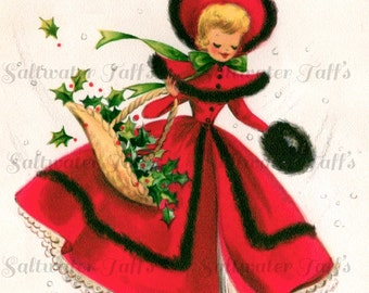 Cute Girl in Red Dress With Christmas Holly Image Digital Download picture card holiday xmas vintage 1950s muff fur scarf cheery greetings