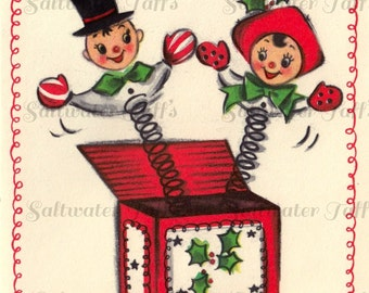 Holiday Jack In The Box Toy Christmas Image Digital Download vintage holiday xmas christmas card vintage 1950s couple holly red toy shop