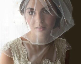 Wedding veil, birdcage veil, ivory birdcage veil, bridal veil, mini tulle veil, pearl tulle veil, gold veil, blusher veil, veil