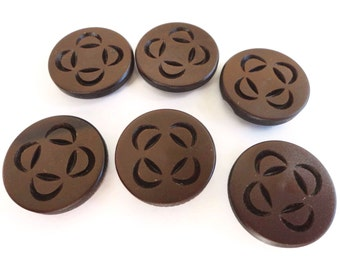 Chocolate Vintage Buttons - 6 Mid Century French Plastic