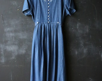 Midi to maxi Short Sleeve Denim Dress Jeans Dress Bohemian Fashion 80s Size Large Tie Back From Nowvintage on Etsy