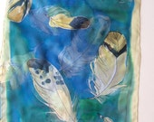 Feathers Silk scarf/ Women scarf/ Blue green silk chiffon scarf/ Lightweight scarf/ Ethereal shawl handpainted/ Spring scarves OOAK
