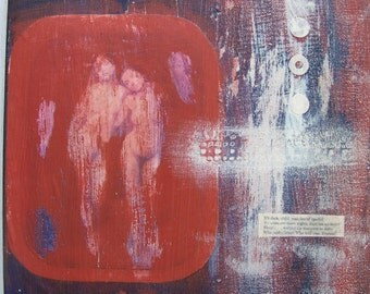 """Mixed-Media, collage, Vintage, acrylic on canvas, """"Sisters"""""""