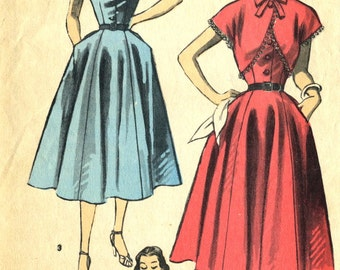 Vintage 1950s Advance 6117 Misses Cut Away Armhole Dress with Bolero Sewing Pattern Size 14 Bust 32