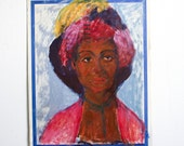 RESERVED for SMH M - Vintage Lady Portrait / Outsider Art / 15 x 19 / Original Acrylic Painting on Found Paper