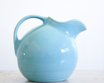 Vintage Fiesta Harlequin Water Pitcher / Homer Laughlin Fiestaware / Turquoise Pottery