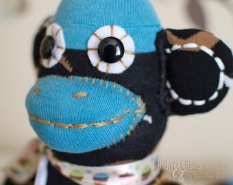 Handmade Sock Monkey Doll, Stuffed Animal, Plushie, Sock Monkey Toy, Art Doll, Home Decor, Desk Decor, Shelfie, Monkey Lover Gift, WINSTON