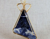 Blue and White triangle cabochon 14k Gold Filled wire wrap. P284