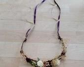 Toddler halo dried flower hair wreath Custom made mini flower crown headband plum purple Woodland Rustic chic wedding bridal accessories