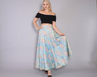 Vintage 60s Metallic SKIRT / 1970s High Waist Full Pastel Lurex Ball Gown Skirt S