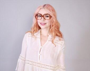 Vintage 70s GIVENCHY EYEGLASSES / 1970s Authentic Designer Brown Marbled Transparent Glasses Frames