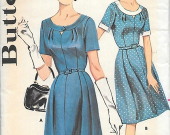 Butterick 9796 UNCUT 1960s Shallow Neck Dress with Keyhole Opening Vintage Sewing Pattern Size 16 Bust 36