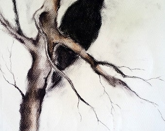 Original Charcoal Raven Drawing Halloween Gothic Wall Art Crow on a Branch 12x8""