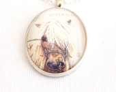 pony necklace, postage stamp jewelry, pony pendant, upcycled postage stamp necklace