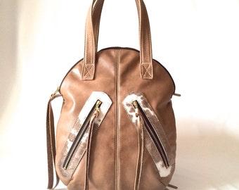 SALE Taupe leather bag, hair on hide handbag, genuine leather handcrafted leather bag, rugged bag, vintage look