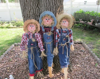 Scarecrow  Autumn Indoor or Outdoor Decor Stake In Pot or Ground Choose One