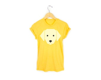 Geo Yellow Lab Tee - Boyfriend Fit Crew Neck T-shirt with Rolled Cuffs in Heather Yellow Gold and Tan - Women's Size S-4XL