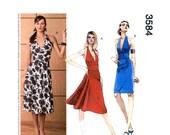 Halter Dress Pattern McCalls 3684 Fit and Flare Dress, Low Back Dress, Marilyn Monroe Dress Womens Sewing Pattern Size 12 14 16 18 UNCUT
